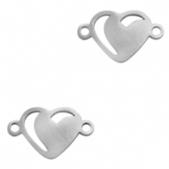 Stainless steel charms/connector hearts Silver