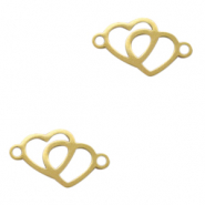 Stainless steel charms/connector hearts Gold
