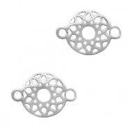 Stainless steel charms/connector flower Silver