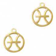 Stainless steel charms zodiac sign Pisces Gold