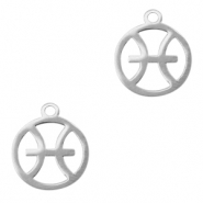Stainless steel charms zodiac sign Pisces Silver