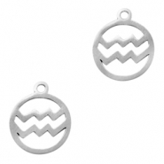 Stainless steel charms zodiac sign Aquarius Silver