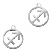 Stainless steel charms zodiac sign Sagittarius Silver