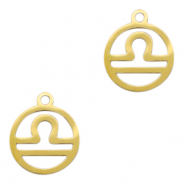 Stainless steel charms zodiac sign Libra Gold