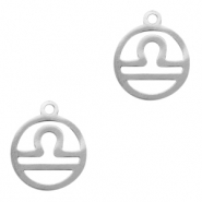 Stainless steel charms zodiac sign Libra Silver