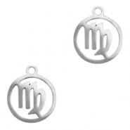 Stainless steel charms zodiac sign Virgo Silver