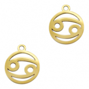 Stainless steel charms zodiac sign Cancer Gold