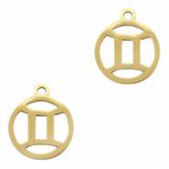 Stainless steel charms zodiac sign Gemini Gold