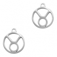 Stainless steel charms zodiac sign Taurus Silver