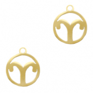 Stainless steel charms zodiac sign Aries Gold