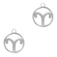 Stainless steel charms zodiac sign Aries Silver
