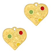 DQ European metal charms heart with flowers Gold-Multicolour (nickel free)