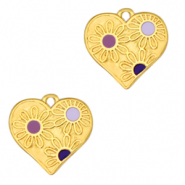 DQ European metal charms heart with flowers Gold-Purple (nickel free)