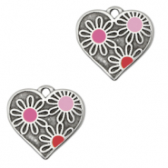 DQ European metal charms heart with flowers Antique Silver-PInk (nickel free)