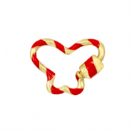 Zirconia clasp butterfly Gold-Red