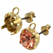 DQ earpins with loop for SS 29 chaton Gold plated