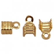 DQ fold over cord ends 4mm Gold plated