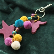NEW 54 new pompom charms in various colours