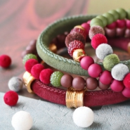 NEW NEW! Stichted velvet cord and velvet pompom beads!