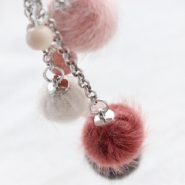 Inspirational Sets Faux fur pompom beads and charms in soft colours
