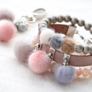 NEW New: cute faux fur pompom beads and charms