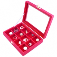 12 Compartment jewellery storage box Fuchsia