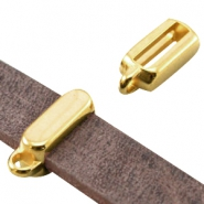 Tetragon DQ metal slider with loop (for 10mm flat DQ leather) Gold (nickel free)
