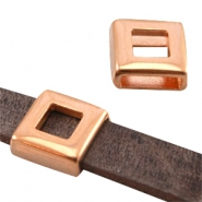Square DQ metal slider (for 10mm flat DQ leather) Rose gold (nickel free)