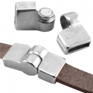 DQ metal magnetic hinge clasp (for 10mm flat DQ leather)  Antique silver (nickel free)