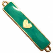 Charm two loops heart Gold - emerald green