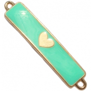 Charm two loops heart Gold - deep crysolite green