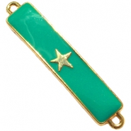 Charm two loops star Gold - emerald green