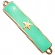 Charm two loops star Gold - deep crysolite green