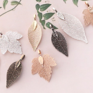 NEW Leaf charms with metal coating