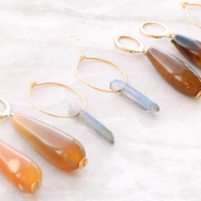 NEW NEW: Natural stone beads + aura quartz crystal