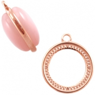 DQ metal charm/setting 2 sided (for 20mm cabchon) Rose gold (nickel free)