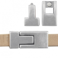 DQ metal magnetic clasp 30x13mm for 10mm flat leather Antique  Silver (nickel free)