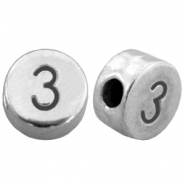 DQ metal number beads # 3 Antique silver (nickel free)