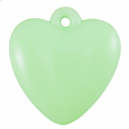Softcoloured heartshaped acryl Pastel crysolite green