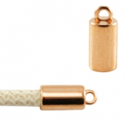 DQ metal end cap with loop for 5mm (Dreamz) cord Rose gold
