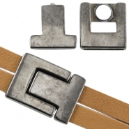DQ metal magnetic clasp Ø 21x2.3mm Silver anthracite (nickel free)