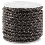 Round braided DQ leather 3mm Black