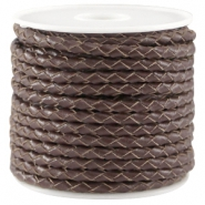 Round braided DQ leather 3mm Chocolate brown