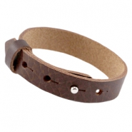 Large-size leather Cuoio bracelet 15mm for 20mm cabochon Fudge brown