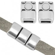 DQ metal magnetic clasp (for 5mm flat leather) Antique silver (nickel free)