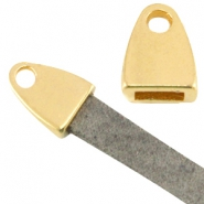 DQ metal end cap with loop (for 5mm flat leather) Gold (nickel free)
