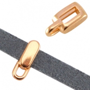 DQ metal tetragon slider with loop (for 5mm flat leather)  Rose gold (nickel free)