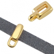 DQ metal tetragon slider with eye (for 5mm flat leather)  Gold (nickel free)