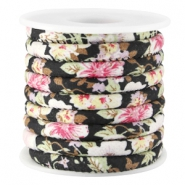 Trendy stitched flowery cord 5.5x4mm Black