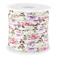 Trendy stitched flowery cord 5.5x4mm Rose green